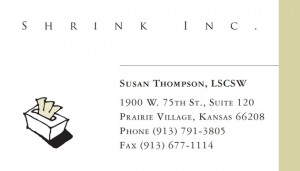 Shrink, Inc. business card by Elizabeth Johnston at Lizzardbrand.com